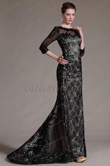 eDressit 2014 Nuevo Elegante Vestido Encaje de noche Negro con mangas (02140714)