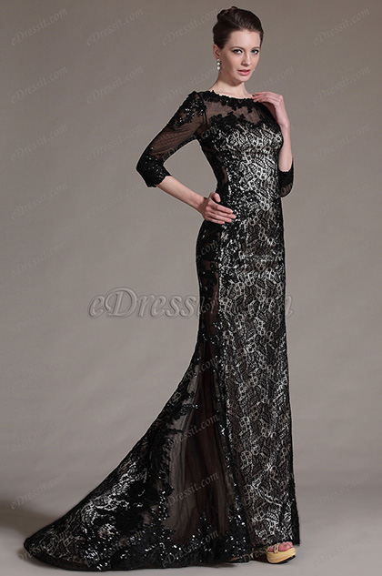 eDressit Stylish Black Sleeves Lace Evening Gown (02140714)