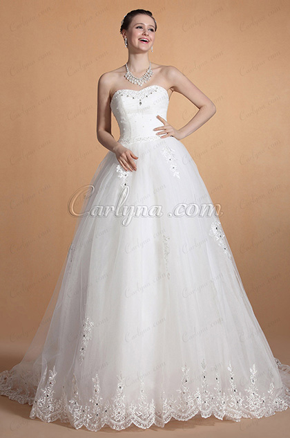 Graceful Strapless Sweetheart Neck Wedding Gown (C37143507)