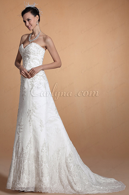 Elegant Strapless Sweetheart Lace Beaded Bodice A-line Wedding Dress(C37144807)