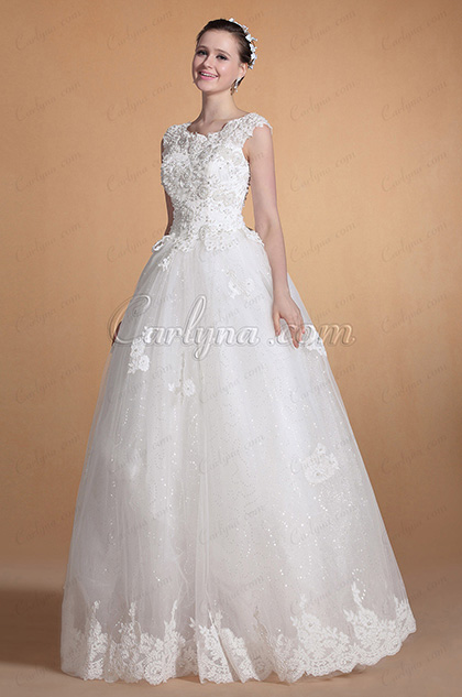 2014 New Round Neckline Lace Straps A-line Wedding Gown (C37142207)