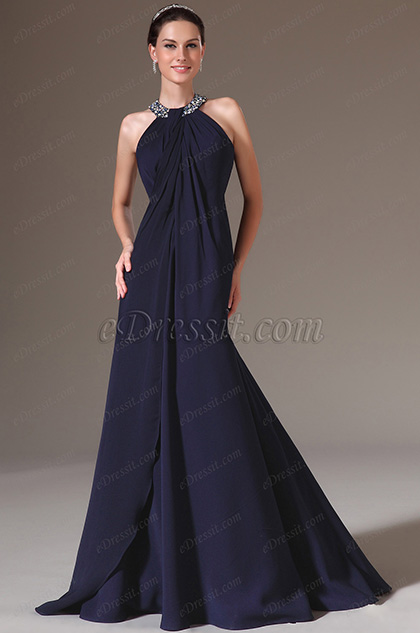 eDressit Dark Blue Stunning Halter Beadings Prom Dress(00142405)