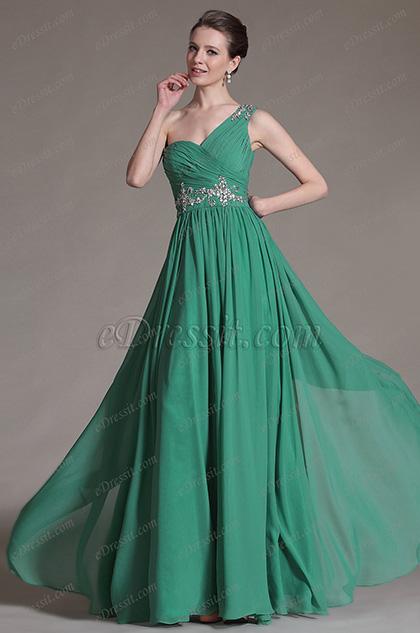 eDressit 2014 Nuevo Encantador Vestido de Noche Verde de un hombro (00147404)