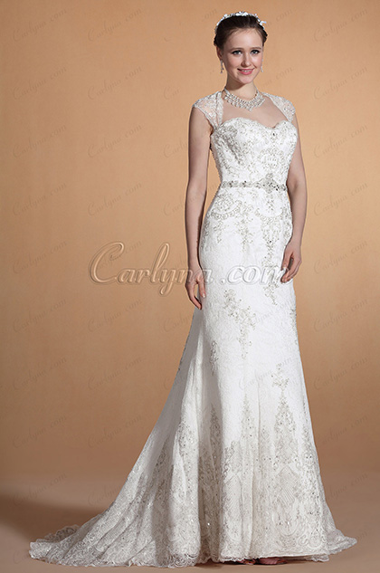 Graceful Detachable Straps Sweetheart Wedding Gown (C37145707)