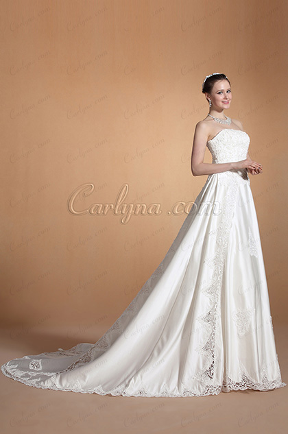 Chic Strapless A-line Royal Train Wedding Gown (C37144707)