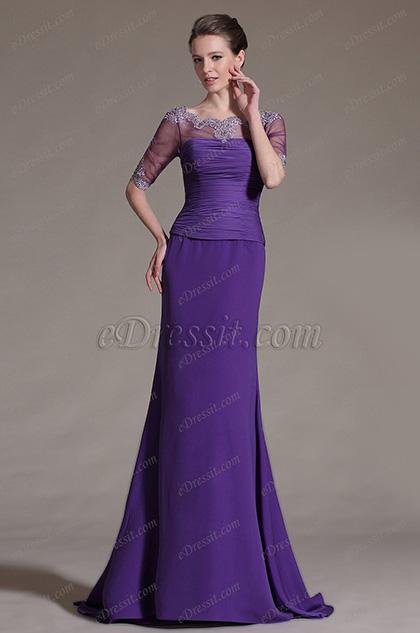 eDressit Purple Lace Neckline Mother of the Bride Dress (26146806)