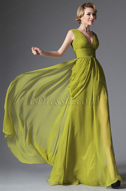 eDressit Military Green V-cut Evening Dress Prom Formal Gown (00147555)