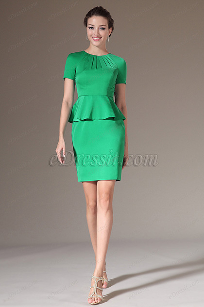 eDressit Elegant Green Short Sleeves Cocktail Dress Day Dress (03140504)