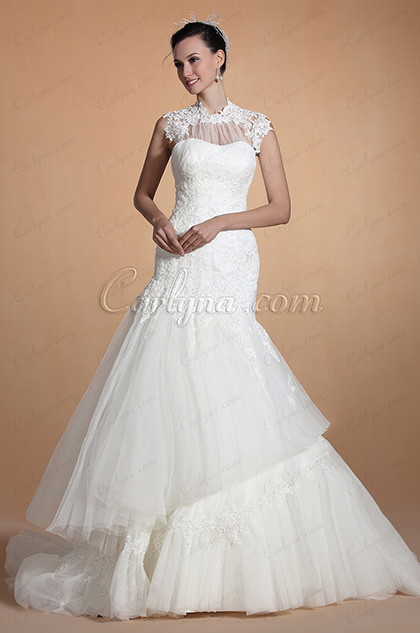 Sweetheart Neckline Lace Appliques Mermaid Wedding Gown (C37145007)
