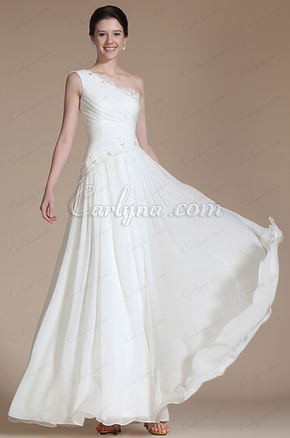 One Shoulder Lace Decoration Wedding Gown (C01140107)