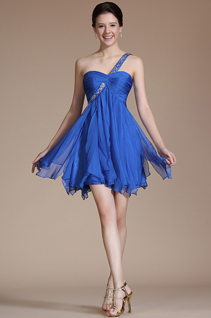 Blue Elegant One Shoulder Beadings Cocktail Dress/ Bridesmaid Dress (C04140105)