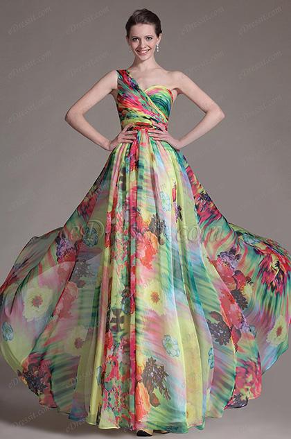 eDressit Printed One-Shoulder Sexy Back Evening Dress (00143768)