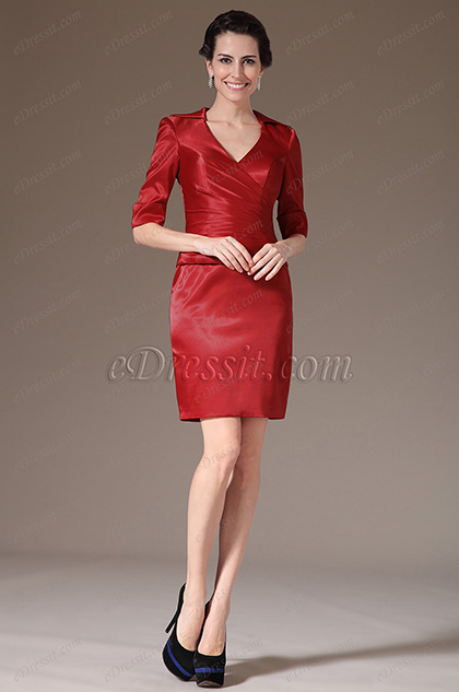 eDressit Simple V-cut Sleeves Mother of the Bride Dress (26145302)