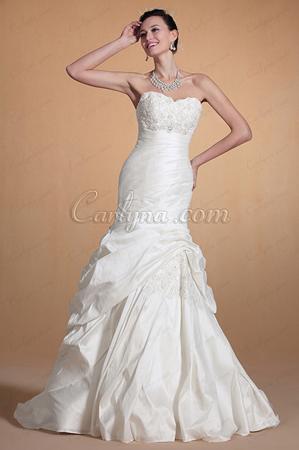 Sweetheart Lace Bodice Mermaid Wedding Gown (C37141507)