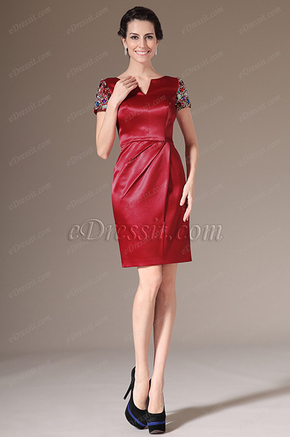 eDressit Red Hand-sewn Beadings Day Dress Cocktail Dress (03140802)