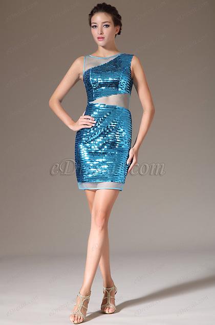 eDressit Stylish Deep Sky Blue Round Neck Sleeveless Sequins Party Dress (03140111)