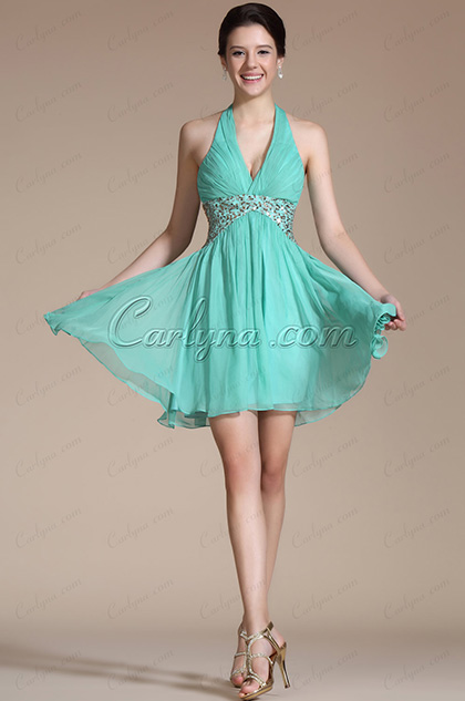 Turquoise Halter Gold Sequins Cocktail Dress/ Party Dress(C04141204)