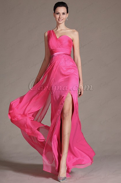 2014 Novedad Popular Rosa Un hombro Alta de split Bridesmaid Dress (C07141212)