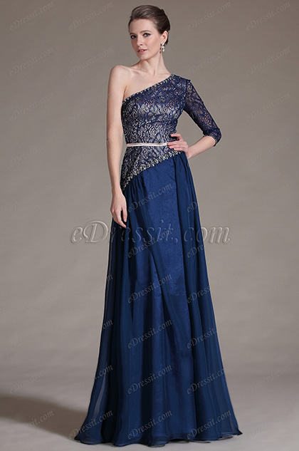5ea6fbc613 eDressit Navy Blue One Sleeve Lace Top Evening Dress Prom Ball Gown  (00146905)