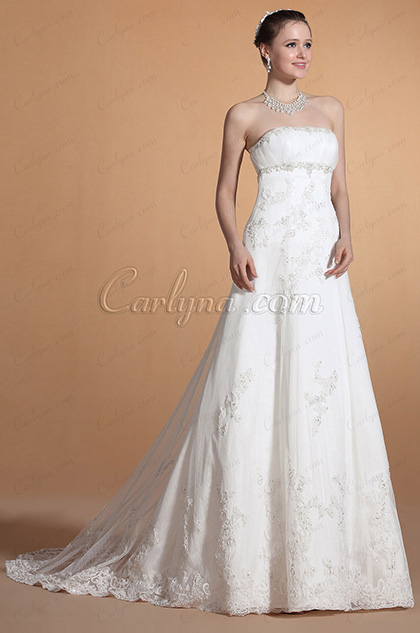 Strapless Beaded Empire Waistline Wedding Gown (C37145907)