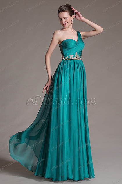 eDressit Green One Shoulder Pleated Formal Dress Evening Gown (00147305)