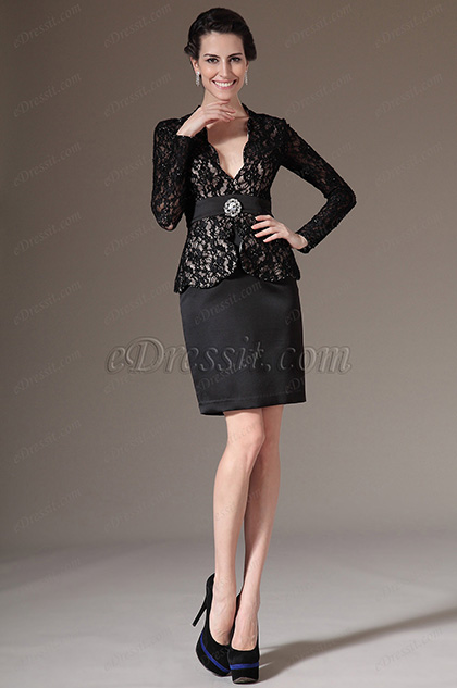 eDressit Sleeves Black Lace Mother of the Bride Dress (26144500)
