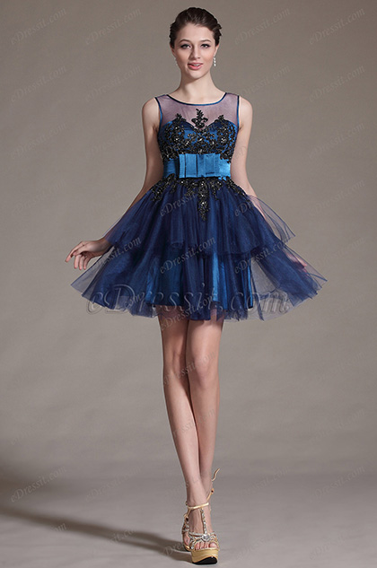 eDressit Blue Sheer Top Lace Decoration Cocktail Dress Party Dress (04143205)