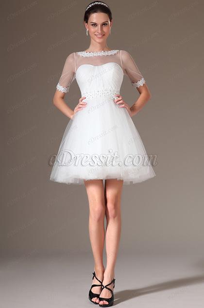 eDressit Lace Neckline Short Wedding Dress (01140107)