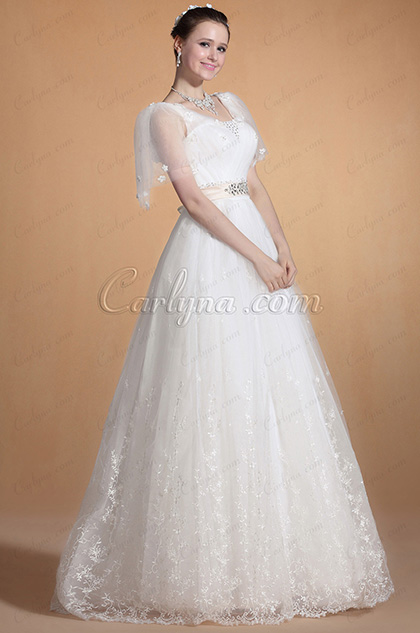 Adorable Transparant Sleeves Wedding Gown (C37141007)