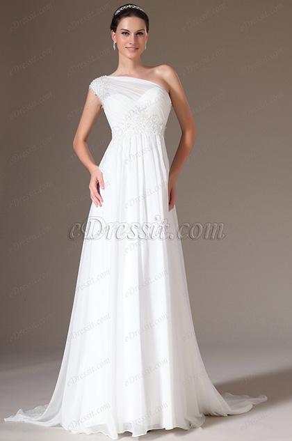 eDressit 2014 Neu Elegant Spitze Ein Schulter Hochzeitskleid(01140607)