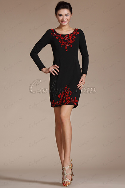 Embroidery Black Round Neck Mother of the Bride Dress  (C35141500)