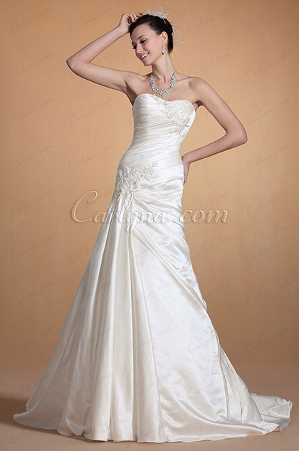 Graceful Sweetheart Lace Decorated Mermaid Wedding Gown (C37142307)