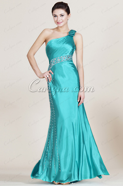 Turqoise One Shoulder Beaded  Bridesmaid Dress (C36140105)