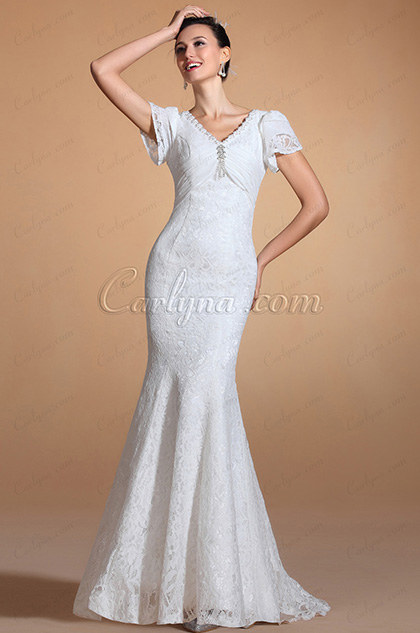 Gorgeous V-cut Neck Mermaid Wedding Gown (C37142807)