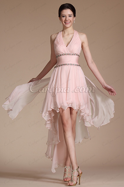 2014 Neu Rosa Halter Perlen Cocktail Kleid/ Party Kleid (C04140801)