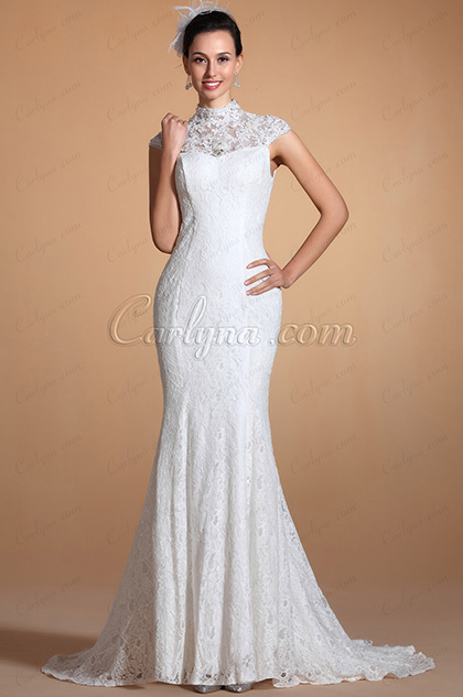Gorgeous High Collar Lace Neck Mermaid Wedding Gown (C37143007)