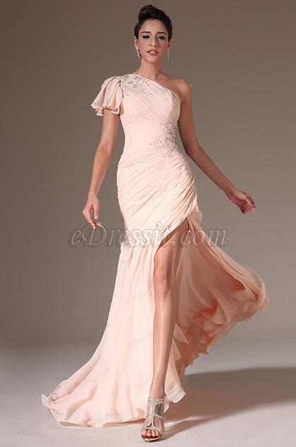 eDressit 2014 Nuevo Vestido Rosa de un solo Hombro con apliques cosidos a mano de Noche (02141801)