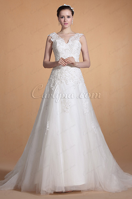 Adorable Lace Straps Wedding Gown (C37141307)