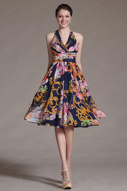 eDressit Printed Simple Halter Party Dress Cocktail Dress (04124705)