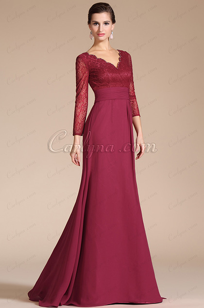 Graceful V-Neck Long Slevees Mother of the Bride Dress (C26140402)