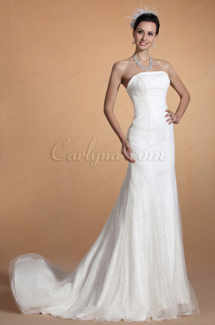 Strapless Fitted Mermaid Wedding Gown (C37144007)