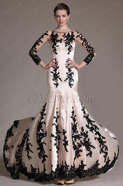 eDressit Gorgeous Sleeves Black Lace Evening Gown(02145714)