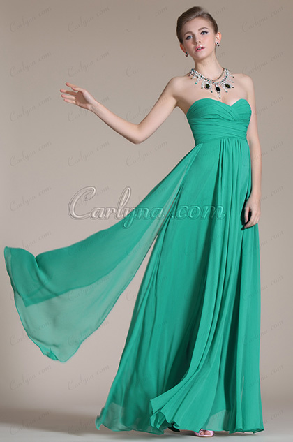 Green Strapless Pleated Evening Dress/Bridesmaid Dress (C00113911)