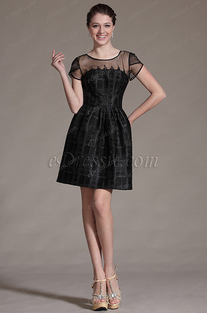eDressit Black Round Neckline Sheer Top Cocktail Dress Party Dress (03142100)