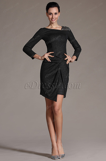 eDressit Simple Black Sleeves Day Dress Cocktail Dress (03142500)