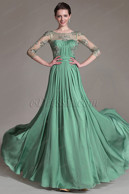eDressit Green Sheer Top Embroidered Mother of the Bride Dress (26147304)