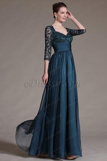 eDressit Elegante Vestido Overlace con Mangas para la madre de la novia (26146205)