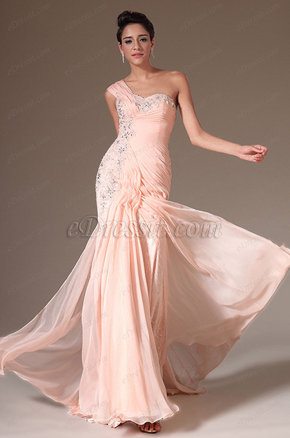 eDressit Pink Charming One Shoulder Evening Dress (00143901)