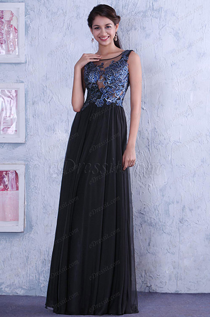 Gorgeous Sleeveless Lace Applique Sexy Open Back Evening Dress (C36145200)