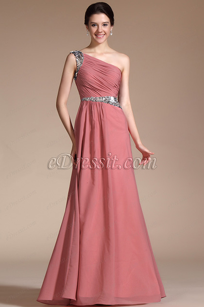 Formal One Shoulder A-line Evening Dress Prom Gown (C00140946)